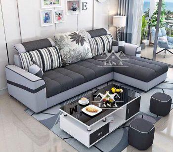 mẫu bàn ghế sofa vải nỉ bố nhung đẹp hiện đại cho phòng khách chung cư nhỏ đẹp