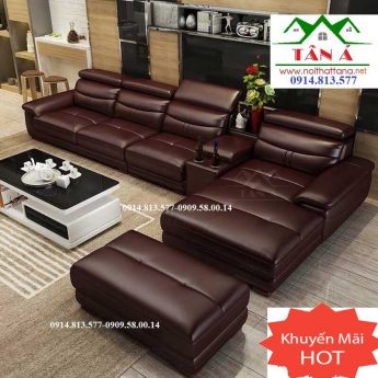 Sofa da cao cấp màu nâu