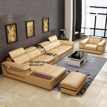 bộ bàn ghế sofa da phòng khách đẹp hiện đại tại tphcm