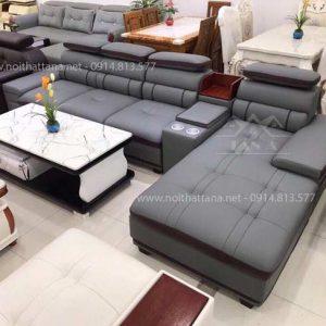 Sofa da phòng khách góc L mẫu đẹp hiện đại