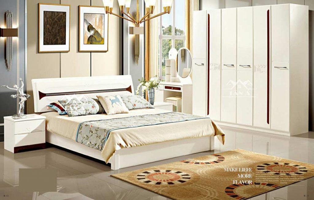 Combo Giường ngủ tủ quần áo đẹp giá rẻ, giường ngủ màu trắng