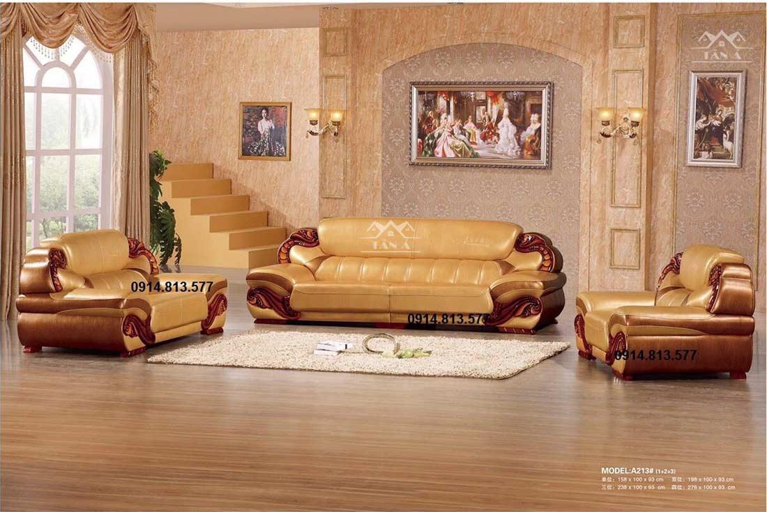 Sofa da tân cổ điển cao cấp nhập khẩu