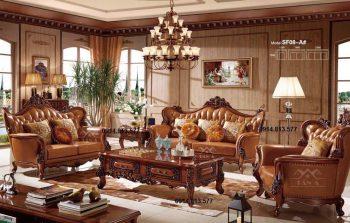 ghế sofa da bò tân cổ điển hàng nhập khẩu đài loan