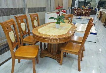 Bộ bàn ăn mặt đá 6 ghế gỗ sồi gia đình giá rẻ