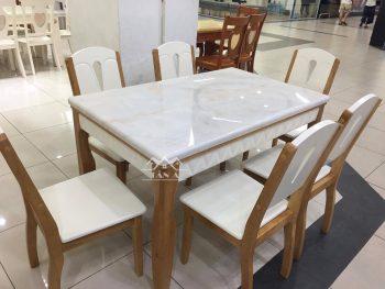 Bộ bàn ăn mặt đá 6 ghế gỗ cao su giá rẻ đẹp hiện đại nhập khẩu đài loan