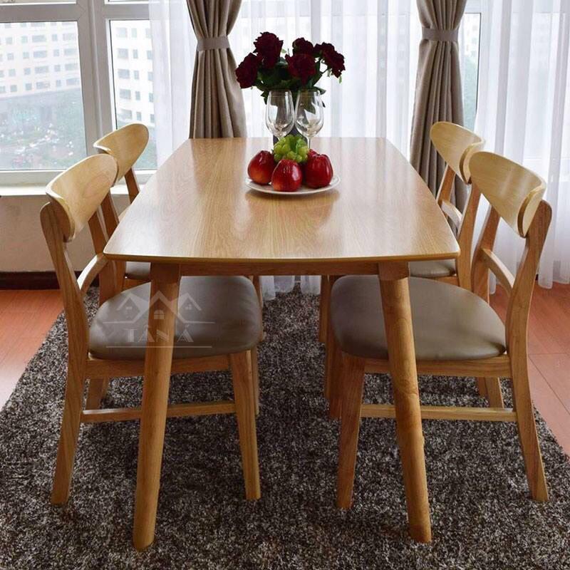 bộ bàn ăn mango 4 ghế giá rẻ mặt gỗ công nghiệp