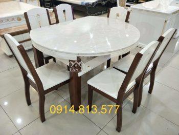 bộ bàn ăn mặt tròn 6 ghế gỗ sồi nhập khẩu