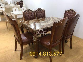 bàn ăn mặt đá 6 ghế gỗ sồi tân cổ điển nhập khẩu đài loan