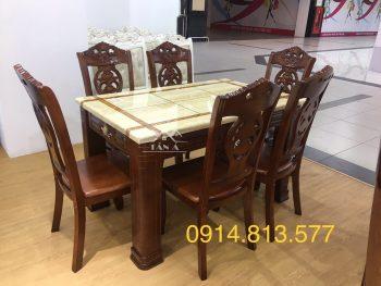 Bộ bàn ăn gia đình mặt đá vuông 6 ghế bằng gỗ sồi nga nhập khẩu đài loan