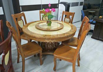 Bộ bàn ăn tròn mặt đá 6 ghế gỗ sồi nga nhập khẩu đài loan
