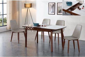 Bộ bàn ăn gia đình 6 ghế gỗ sôi nga nhập khẩu đài loan