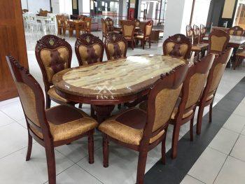 Bộ bàn ăn oval mặt đá 8 ghế gỗ sồi nga tân cổ điển hàng nhập khẩu đài loan