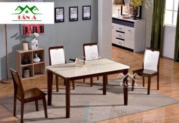 bộ bàn ăn chữ nhật 6 ghế gỗ sồi nhập khẩu đài loan