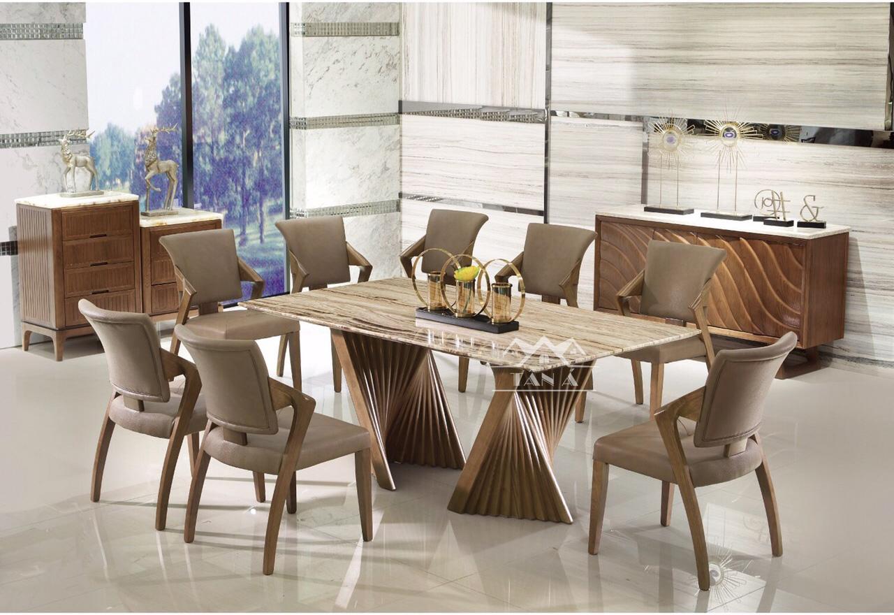 Bộ bàn ăn đẹp mặt gỗ 8 ghế gỗ sồi nga hàng nhập khẩu đài loan