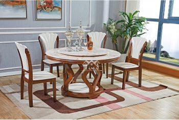 bộ bàn tròn mặt đá 6 ghế ăn gia đình bằng gỗ