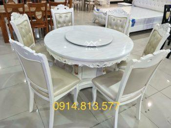 Bộ bàn ăn đẹp mặt đá 6 ghế gỗ sồi nga tân cổ điển hàng nhập khẩu đài loan