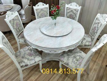 Bộ bàn ăn đẹp mặt đá 6 ghế gỗ sồi nga tân cổ điển hàng nhập khẩu đài loan giá rẻ
