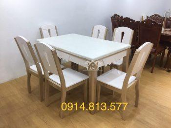 bàn ăn mặt đá 6 ghế gỗ sồi nga nhập khẩu đài loan