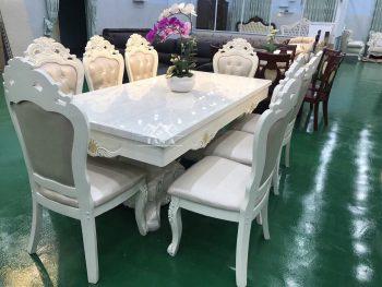 Bộ bàn ăn chữ nhật mặt đá 8 ghế gỗ sồi nga tân cổ điển hàng nhập khẩu đài loan