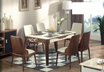 Bộ bàn ăn gia đình bằng gỗ