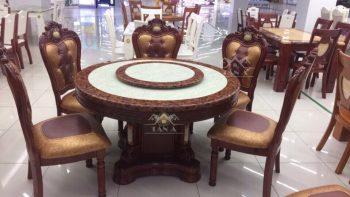 Bộ bàn ăn tròn mặt đá đẹp 6 8 ghế gỗ sồi tân cổ điển nhập khẩu đài loan