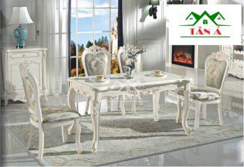 bộ bàn ghế ăn gia đình giá rẻ,Bộ bàn ăn đẹp mặt đá 6 ghế gỗ sồi nga tân cổ điển hàng nhập khẩu đài loan