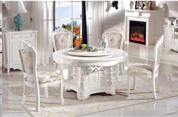 Bộ bàn ăn tròn mặt đá xoay 6 ghế gỗ sồi nga tân cổ điển hàng nhập khẩu đài loan