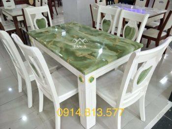 bộ bàn ăn mặt đá cẩm thạch 6 ghế gỗ sồi nhập khẩu đài loan giá rẻ đẹp hiện đại