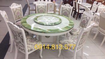 Bộ bàn ăn tròn mặt đá xoay 6 ghế gỗ sồi nga tân cổ điển hàng nhập khẩu đài loan, bàn ăn đẹp tân cổ điển