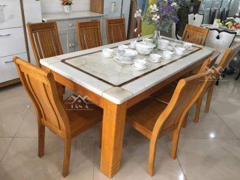 bàn ăn mặt đá 6 ghế gỗ sồi cho gia đình bằng gỗ