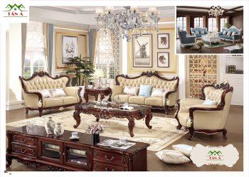 Bộ bàn ghế sofa da bò thật tân cổ điển đẹp nhập khẩu đài loan cao cấp