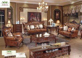 mua sofa tân cổ điển đẹp uy tín tại cần thơ, ghế sofa da bò thật tân cổ điển đẹp hàng nhập khẩu đài loan malaysia