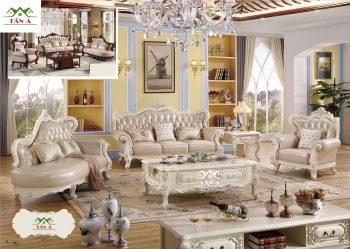 sofa cổ điển đẹp giá rẻ tphcm, Bộ bàn ghế sofa bò thật tân cổ điển nhập khẩu cao cấp