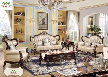 mẫu ghế sofa cổ điển đẹp, Bộ bàn ghế sofa bò thật tân cổ điển nhập khẩu cao cấp