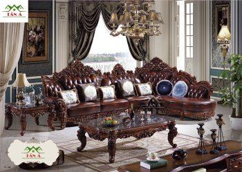 Bộ bàn ghế sofa bò thật tân cổ điển nhập khẩu cao cấp, mẫu sofa tân cổ điển đẹp