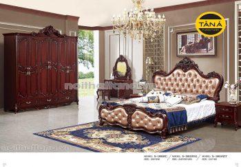Combo bộ giường ngủ gỗ sồi tân cổ điển nhập khẩu đài loan