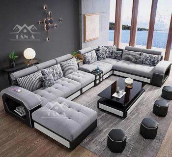 mẫu bàn ghế sofa vải nỉ bố nhung đẹp giá rẻ cho phòng khách căn hộ chung cư nhỏ đẹp hiện đại góc chữ L