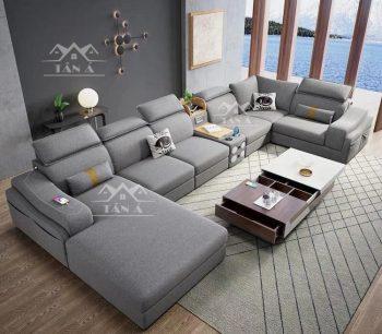 mẫu bàn ghế sofa vải nỉ bố nhung đẹp giá rẻ cho phòng khách căn hộ chung cư nhỏ đẹp hiện đại gốc l