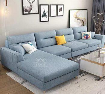 mẫu ghế sofa vải đẹp giá rẻ cho phòng khách căn hộ chung cư nhỏ đẹp hiện đại góc l