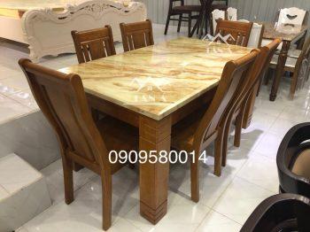 bộ bàn ăn mặt đá 6 ghế gỗ sồi nhập khẩu đài loan, bàn ăn gia đình đẹp hiện đại giá rẻ