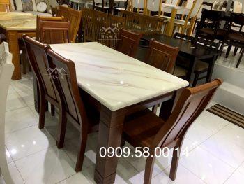 bộ bàn ăn mặt đá 6 ghế gỗ sồi nga nhập khẩu đài loan giá rẻ tại tphcm