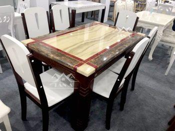 bộ bàn ăn gỗ mặt đá 6 ghế nhập khẩu đài loan