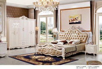 Các mẫu combo bộ giường tủ đẹp giá rẻ, giường ngủ tân cổ điển gỗ sồi nga công nghiệp mdf bàn phấn trang điểm nhập đài loan