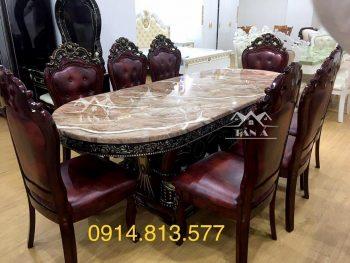 bộ bàn ghế ăn mặt đá 8 ghế gỗ sồi nhập khẩu đài loan