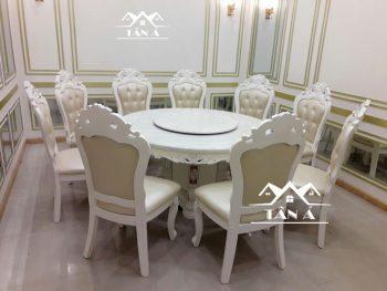 bộ bàn ăn tròn mặt đá xoay 8 ghế gỗ sồi nhập khẩu đài loan