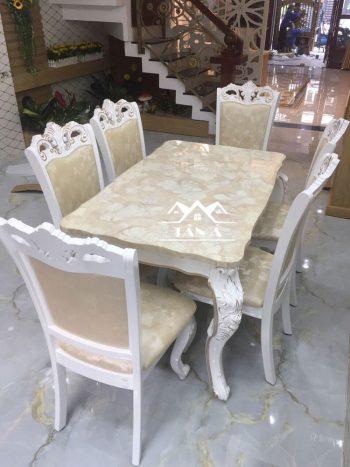Bộ bàn ăn mặt đá 6 ghế gỗ sồi nga giá rẻ
