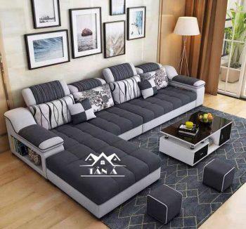 mẫu bàn ghế sofa vải nỉ bố nhung đẹp giá rẻ cho phòng khách căn hộ chung cư nhỏ đẹp hiện đại góc l
