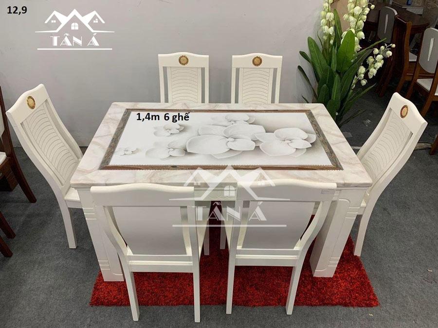 bộ bàn ăn mặt đá hiện đại 6 ghế gỗ sồi nhập khẩu đài loan, bàn ăn đẹp giá rẻ