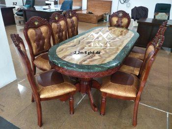 bộ bàn ăn mặt đá tân cổ điển 8 ghế gỗ sồi nhập khẩu đài loan, bàn ăn đẹp giá rẻ