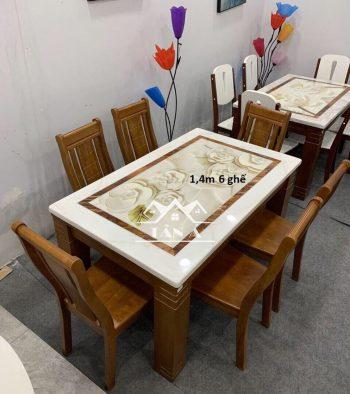 bộ bàn ăn mặt đá hiện đại 6 ghế gỗ sồi nhập khẩu, bàn ăn đẹp giá rẻ